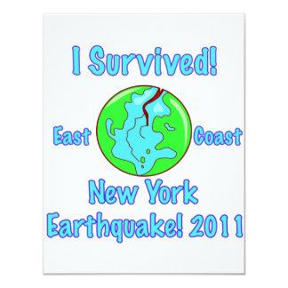 """Terremoto de Nueva York de 2011 Invitación 4.25"""" X 5.5"""""""