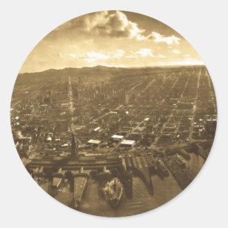 Terremoto del panorama de San Fransisco después de Pegatina Redonda