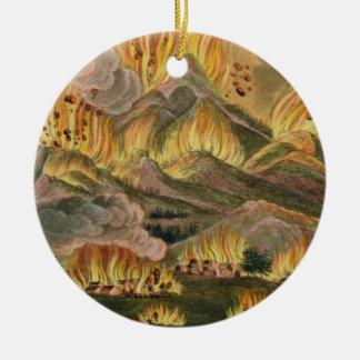 Terremoto y erupción de la montaña de Asama-y Adorno Navideño Redondo De Cerámica