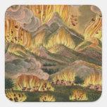 Terremoto y erupción de la montaña de Asama-y Calcomanías Cuadradass