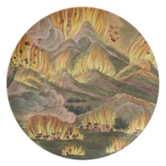 Terremoto y erupción de la montaña de Asama-y Plato De Comida