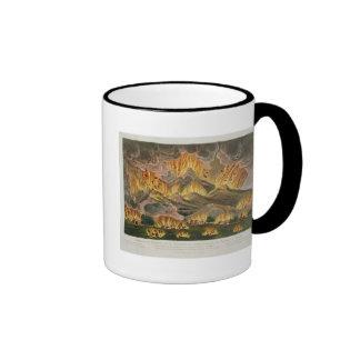 Terremoto y erupción de la montaña de Asama-y Taza A Dos Colores