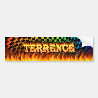 Terrence real fire and flames bumper sticker desig