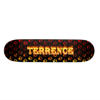 Terrence skateboard fire and flames design