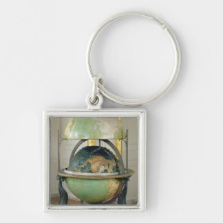 Terrestrial and celestial globe Silver-Colored square keychain