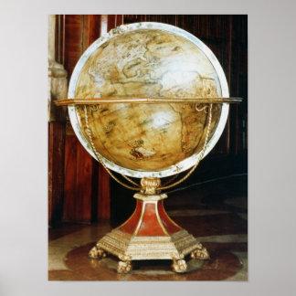 Terrestrial globe, 1688 poster