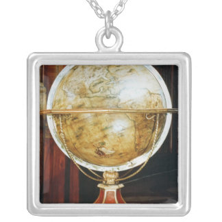 Terrestrial globe, 1688 silver plated necklace