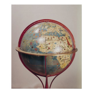 Terrestrial Globe, showing the Indian Ocean Poster