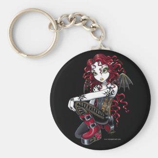 """""""Terri"""" Gothic Red Rose Tattoo Fairy Art Keychain"""