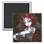 """""""Terri"""" Gothic Red Rose Tattoo Fairy Art Magnet"""