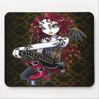 """Terri"" Gothic Red Rose Tattoo Fairy Art Mousepad"