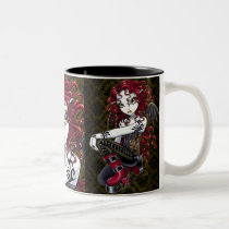 terri, red, tattoo, rose, gothic, fairy, boots, corset, couture, faery, faerie, fae, faeries, fairies, pixie, big, eyed, fantasy, art, mika, myka, jelina, Mug with custom graphic design