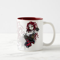 terri, red, tattoo, rose, gothic, fairy, boots, corset, couture, faery, faerie, fae, faeries, fairies, pixie, big, eyed, fantasy, art, mika, myka, jelina, characters, Mug with custom graphic design