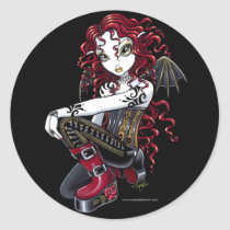 terri, red, tattoo, rose, gothic, fairy, boots, corset, couture, faery, faerie, fae, faeries, fairies, pixie, big, eyed, fantasy, art, mika, myka, jelina, characters, Sticker with custom graphic design