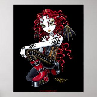 Terri Red Tattooed Faerie Poster
