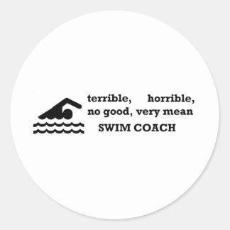 Terrible Swim Coach Classic Round Sticker