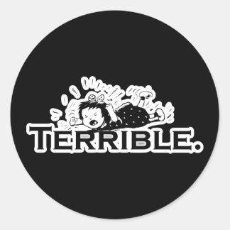 Terrible Temper Tantrum Retro Girl Round Stickers