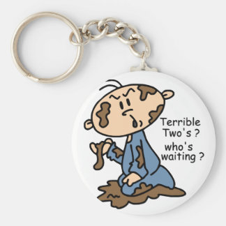 Terrible Two's? Who's Waiting? Baby (BLUE) Keychains