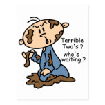 Terrible Two's? Who's Waiting? Baby (BLUE) Post Card
