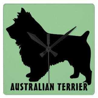 Terrier australiano reloj cuadrado