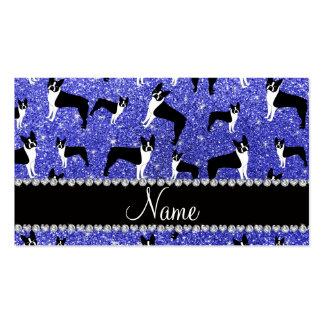 Terrier azul de neón conocido de encargo de Boston Tarjeta De Visita