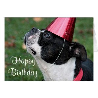 Terrier de Boston con un deseo del cumpleaños Tarjeta De Felicitación