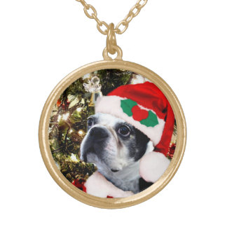 Terrier de Boston del navidad Colgante Redondo