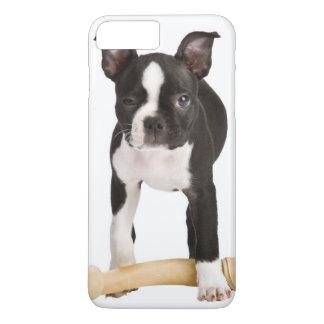 Terrier de Boston que guarda el hueso twisty Funda iPhone 7 Plus