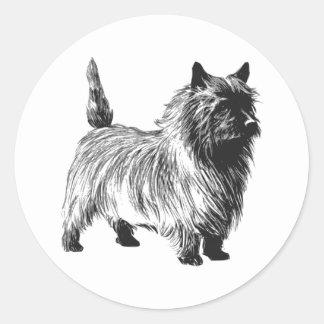 terrier de mojón etiqueta redonda