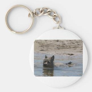 terrier de mojón swimming.png llavero redondo tipo pin
