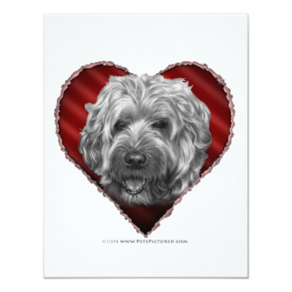 """Terrier de trigo Suave-Revestido con el corazón Invitación 4.25"""" X 5.5"""""""