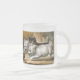 Terrier Dogs Chasing a Rat Frosted Glass Coffee Mug