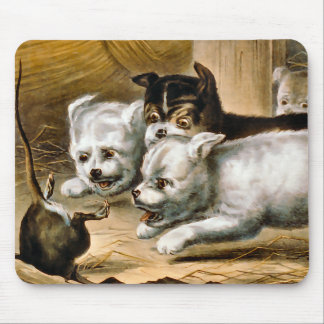 Terrier Dogs Chasing a Rat Mouse Pad
