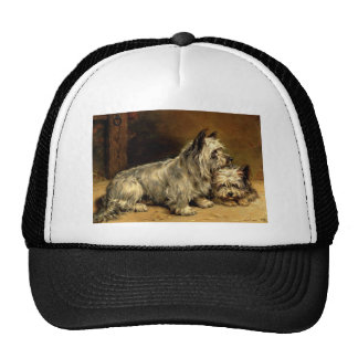 Terrier Dogs Pets Antique painting Trucker Hats
