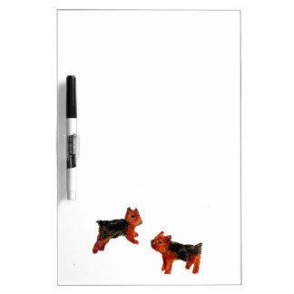 Terrier Dogs Playing Dry Erase Board