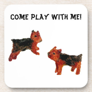 Terrier Dogs Playing, Fun Art Drink Coaster