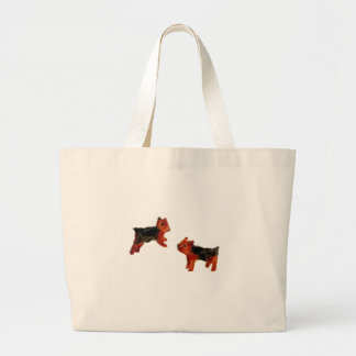 Terrier Fun Dog Art Large Tote Bag
