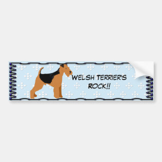 Terrier galés - diseño azul del diamante de w/hite etiqueta de parachoque