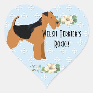 Terrier galés - diseño azul del diamante de w/hite pegatina en forma de corazón
