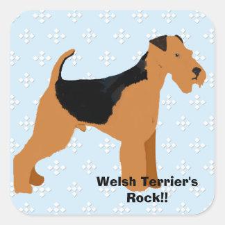 Terrier galés - diseño azul del diamante de w/hite pegatina cuadrada