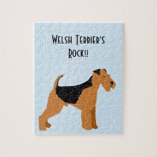 Terrier galés - diseño azul del diamante de w/hite rompecabeza con fotos