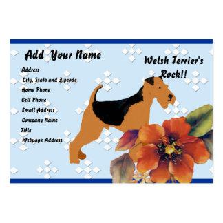 Terrier galés - diseño azul del diamante de w/hite plantilla de tarjeta de visita