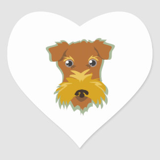 Terrier Head Heart Sticker