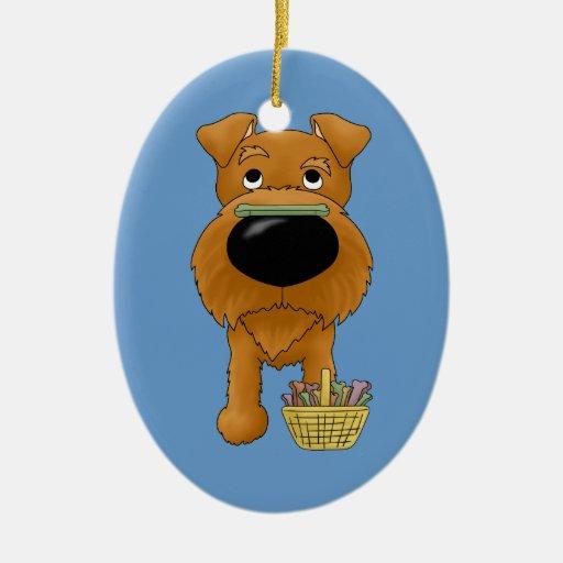 ¿Terrier irlandés - caza del hueso de Pascua, Adorno Navideño Ovalado De Cerámica