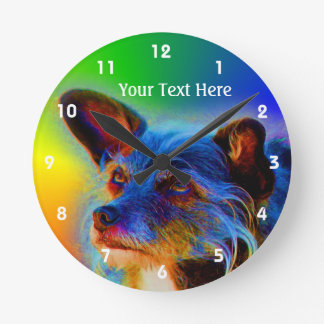 Terrier Mix Dog Abstract Animal Art Round Clock