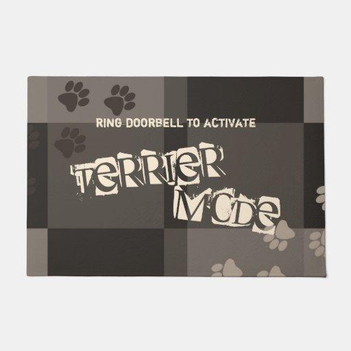 Terrier Mode Funny Dog Pawprints Colorblocks Doormat