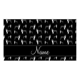 Terrier negro conocido personalizado de Boston Plantillas De Tarjetas Personales