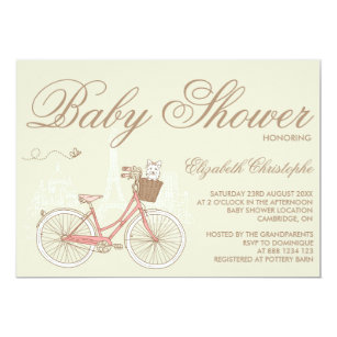 Bicycle baby shower invitations zazzle terrier on a pink bicycle baby shower invitation filmwisefo