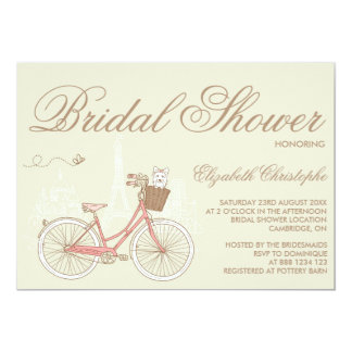 Terrier on a Pink Bicycle Bridal Shower Invitation