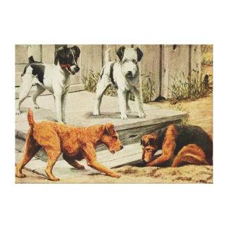 Terrier Painting Fox, Wirefox, Welsh, & Irish Canvas Print